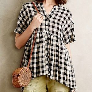 Anthropologie Tylho Checked Swing Top Size Large